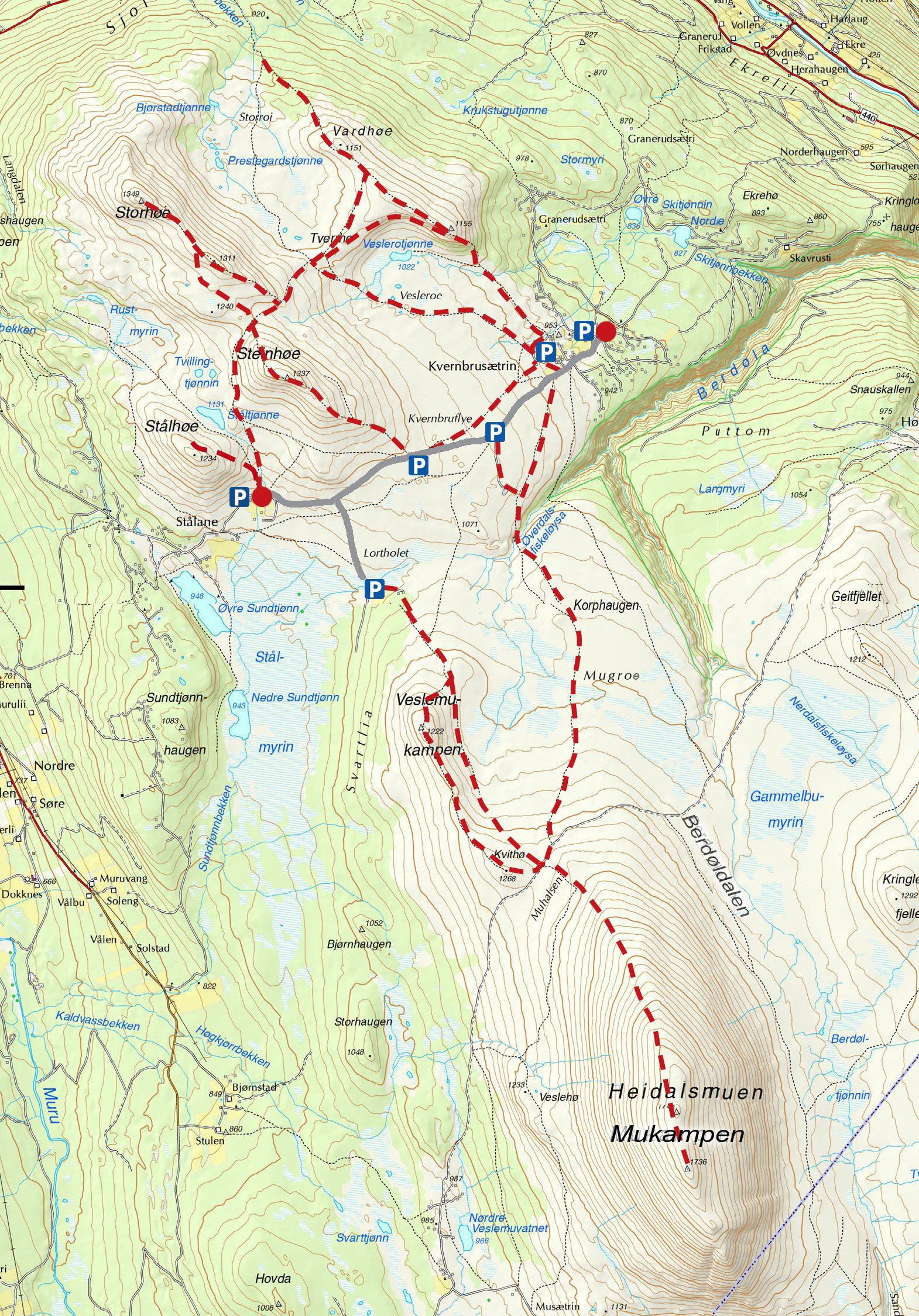 Kart Kvernbru og Stålane